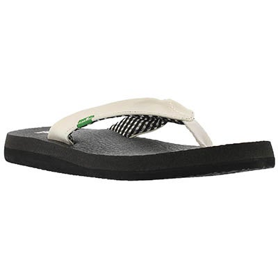 Sanuk Women's YOGA MAT white flip flops