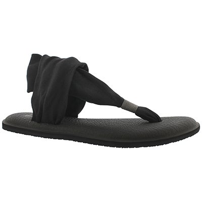 Sanuk Women's YOGA SLING 2 black thong sandals