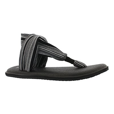 Sanuk Women's YOGA SLING 2 black/white thong sandals