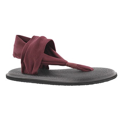 Sanuk Women's YOGA SLING burgundy thong sandals