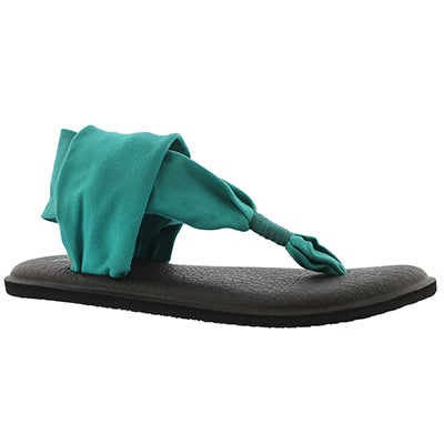 Sanuk Women's YOGA SLING 2 teal thong sandals