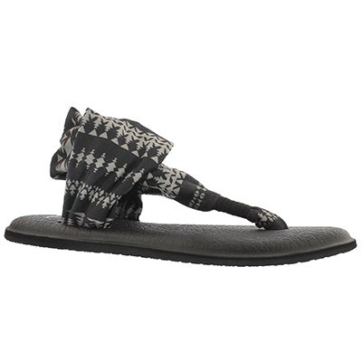 Sanuk Women's YOGA SLING blk/tribal print thong sandals