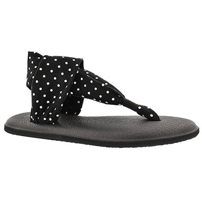 Sanuk Women's YOGA SLING black/white dots print thongs