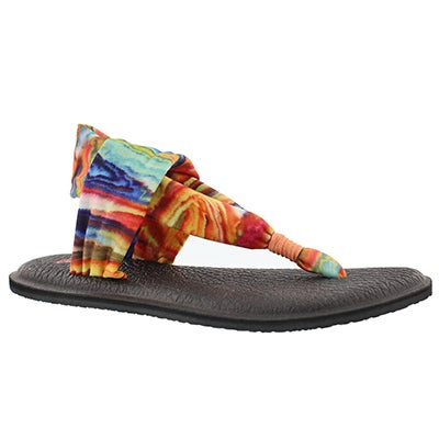 Sanuk Women's YOGA SLING coral/multi print thongs