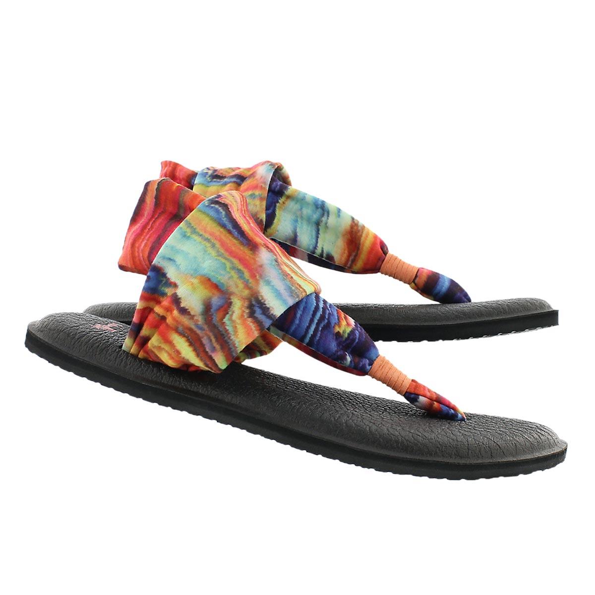 Lds Yoga Sling coral/multi print thong