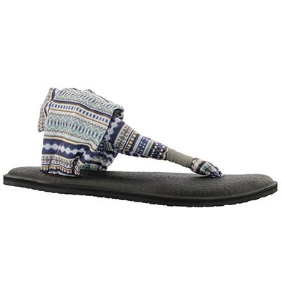 Sanuk Women's YOGA SLING grey/blue print thongs