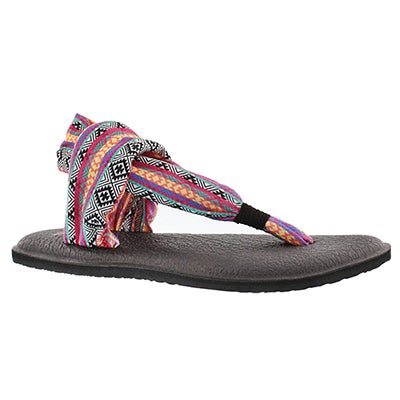 Sanuk Women's YOGA SLING magenta/multi print thongs