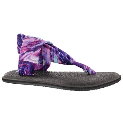 Sanuk Women's YOGA SLING purple/blue print thongs