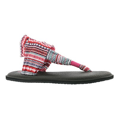 Sanuk Women's YOGA SLING raspberry print thong sandals
