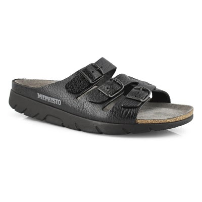 Mns Zach blk cork footbed slide