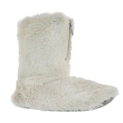 SoftMoc Women's ZIPPY 2 white fluffy zip booties