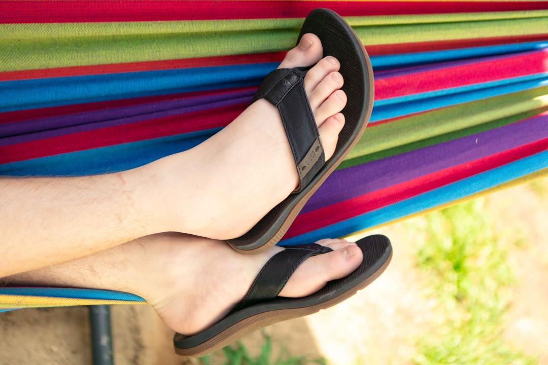 lounge rainbow coloured hammok sandals