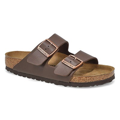 Women's ARIZONA dark brown 2 strap sandals