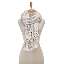 Lds Chunky Lurex ivory scarf