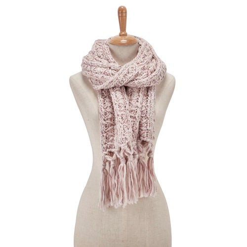 Lds Chunky Lurex pale pink scarf