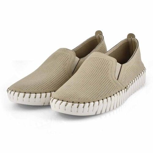 Lds Sepulveda Blvd taupe slip on sneaker