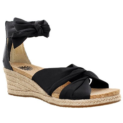 UGG Australia Women's STARLA black fabric wedge sandals