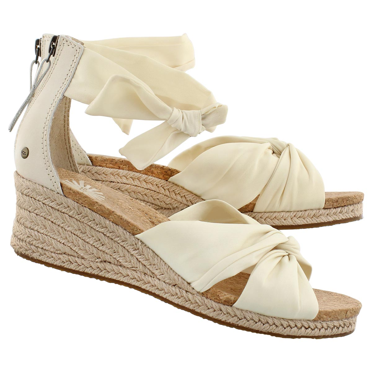 Lds Starla cream fabric wedge sandal