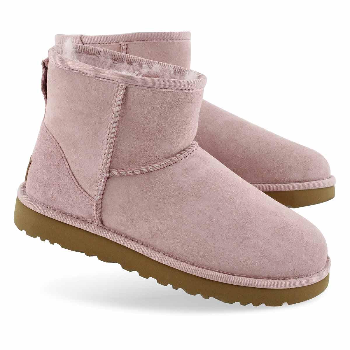 Women's CLASSIC MINI II pink crystal boots
