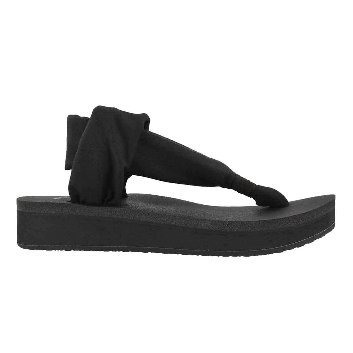 Women's YOGA SLING black thong wedge sandals