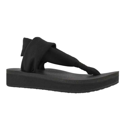 Lds Yoga Sling black thong wedge sandal