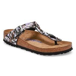 Lds Gizeh BF floral black thong sandal