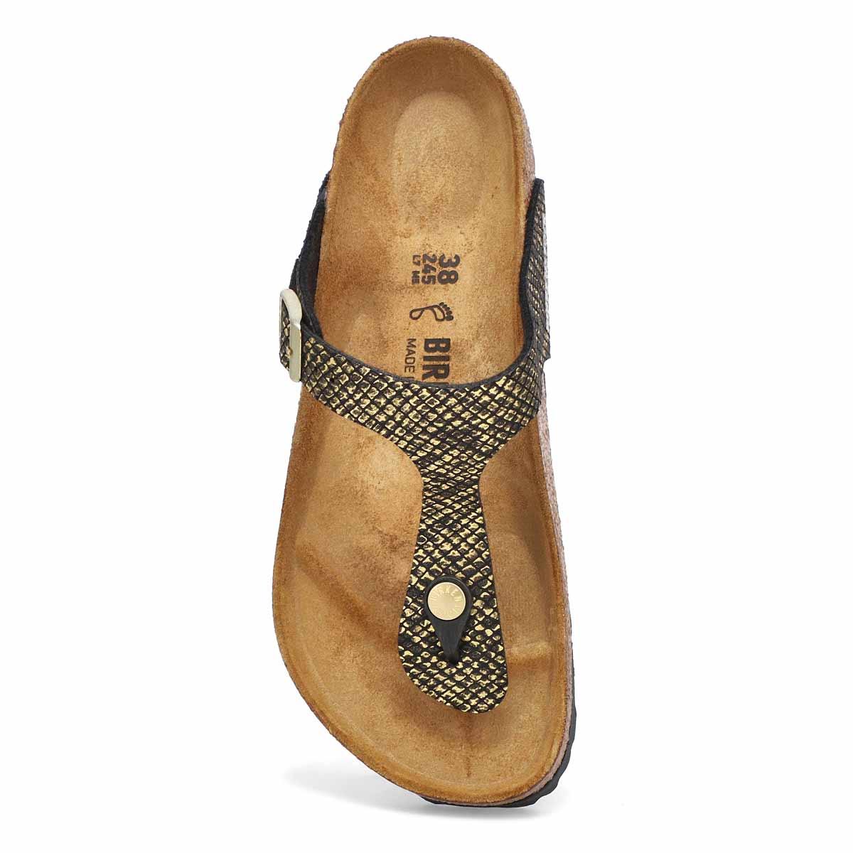 Women's Gizeh Thong Sandal - Python Black/Gold