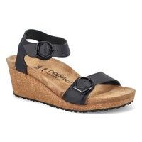 Sandale compensé noir Soley, femmes -Étroite