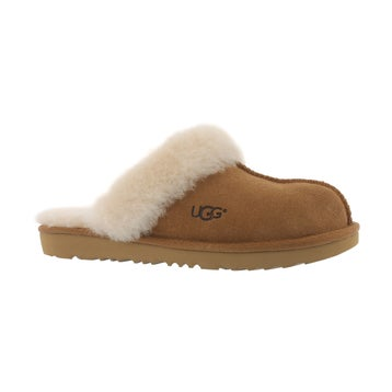 Girls' COZY II chestnut sheepskin slippers
