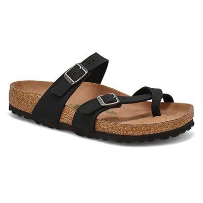 Lds Mayari Vegan black toe sleeve sandal