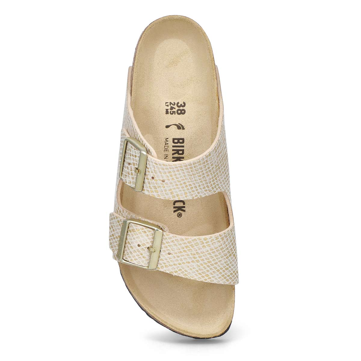 Women's Arizona Narrow Sandal-Python Eggshell/Gold