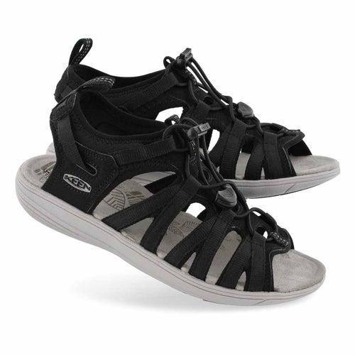 Lds Damaya Lattice blk/blu sprt sandal
