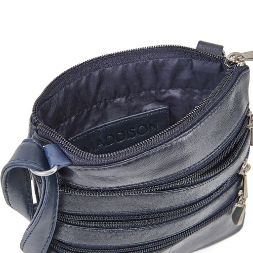 Lds navy sheep leather cross body bag