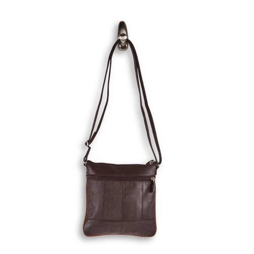 Lds brn sheep leather cross body bag