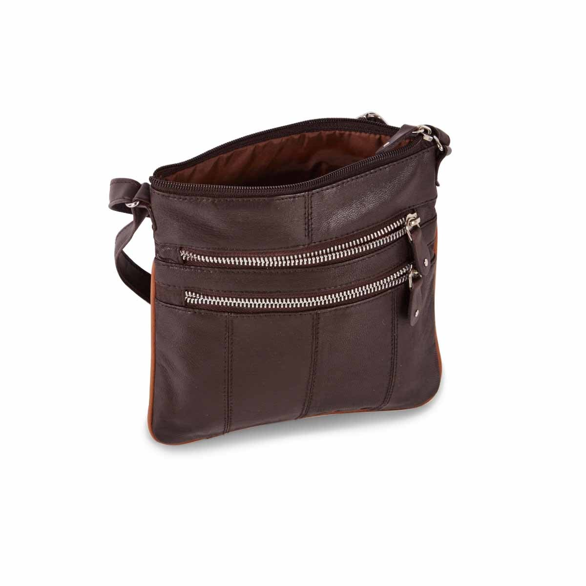 Women's brown sheep leather cross body bag