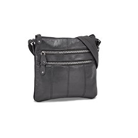 Lds grey sheep leather cross body bag