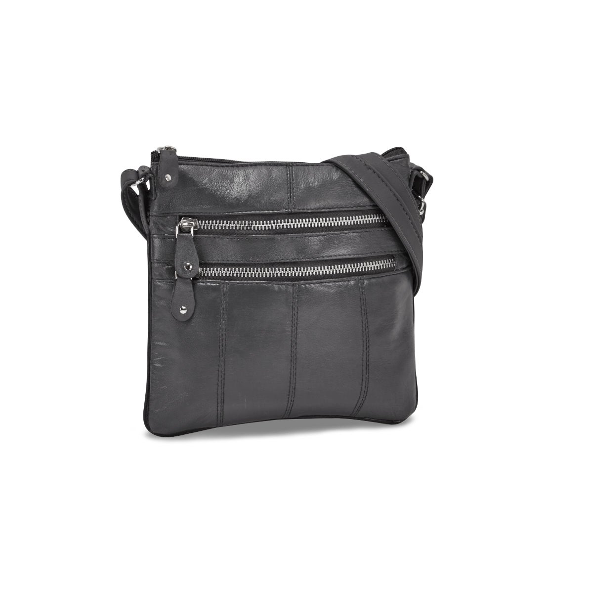 Women's grey sheep leather cross body bag