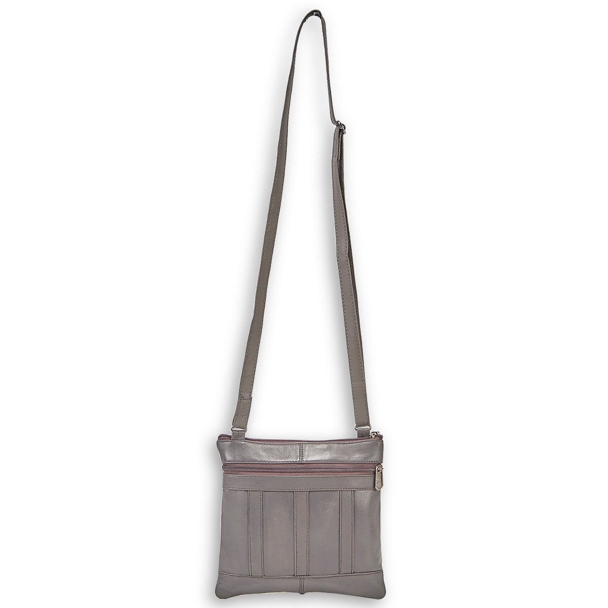 Lds gry sheep leather panelled crossbody
