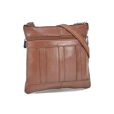 Lds tan sheep leather panelled crossbody