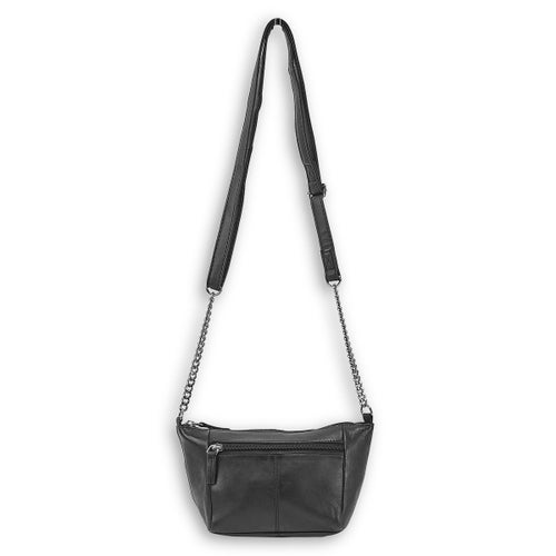 Lds black sheep leather crossbody bag