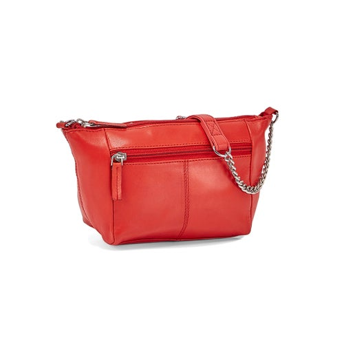 Lds red sheep leather crossbody bag