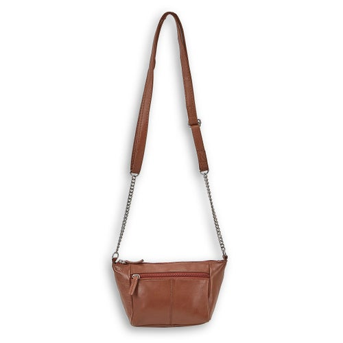 Lds tan sheep leather crossbody bag