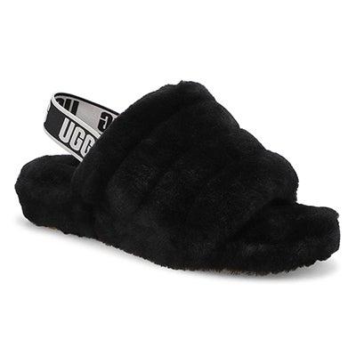 Lds Fluff Yeah black sheepskin slipper