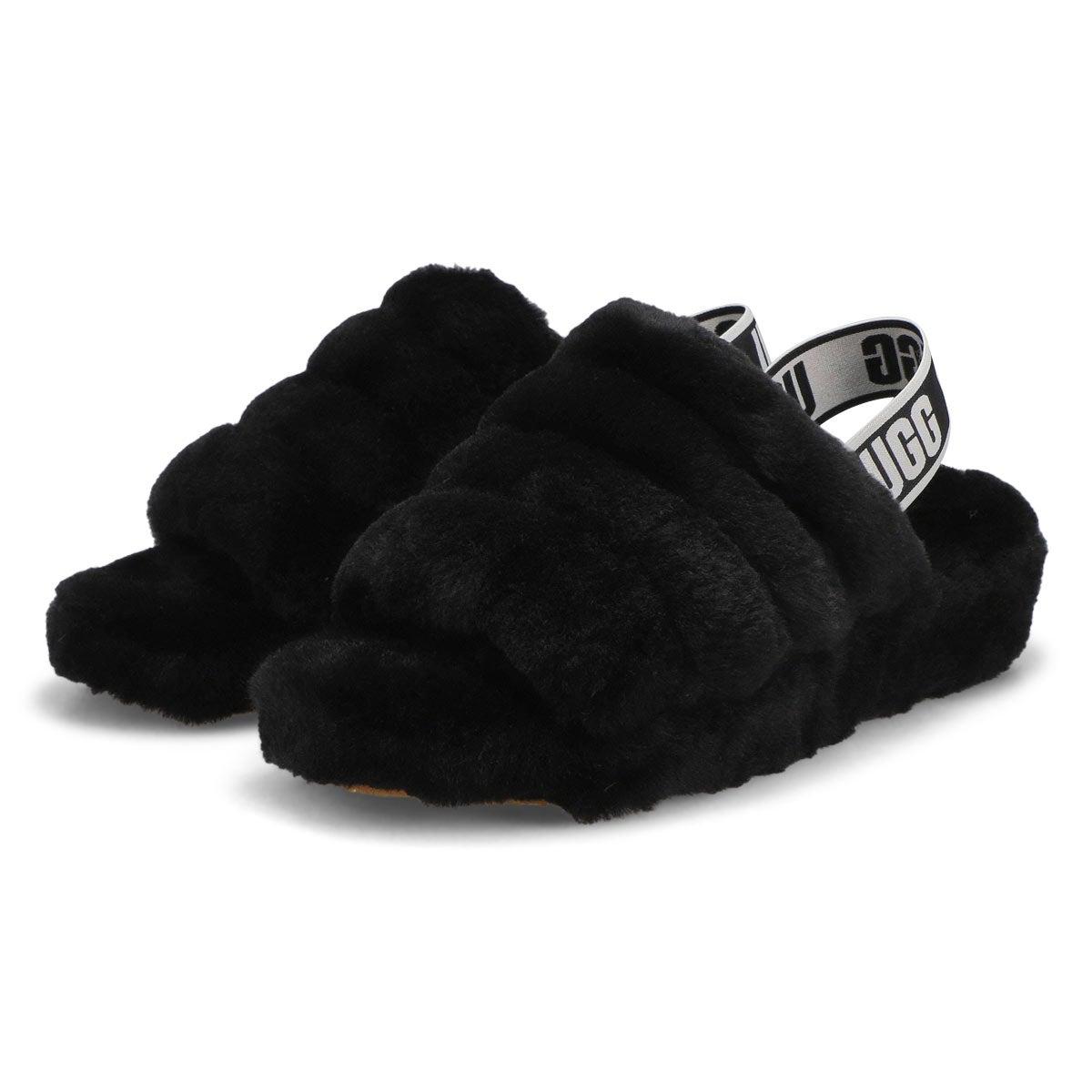 Women's Fluff Yeah Sheepskin Slipper - Black