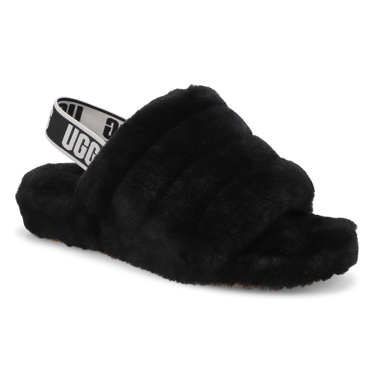 Pantoufles FLUFFYEAH, laine/mouton, noir, filles