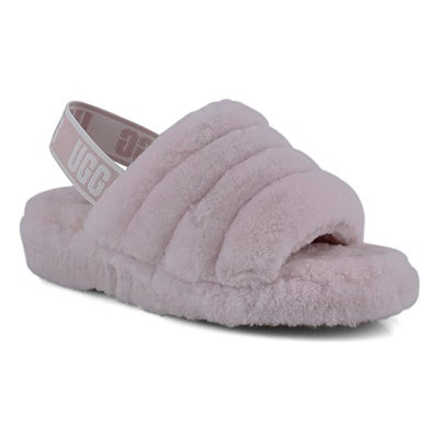 Women's FLUFF YEAH pink sheepskin slippers