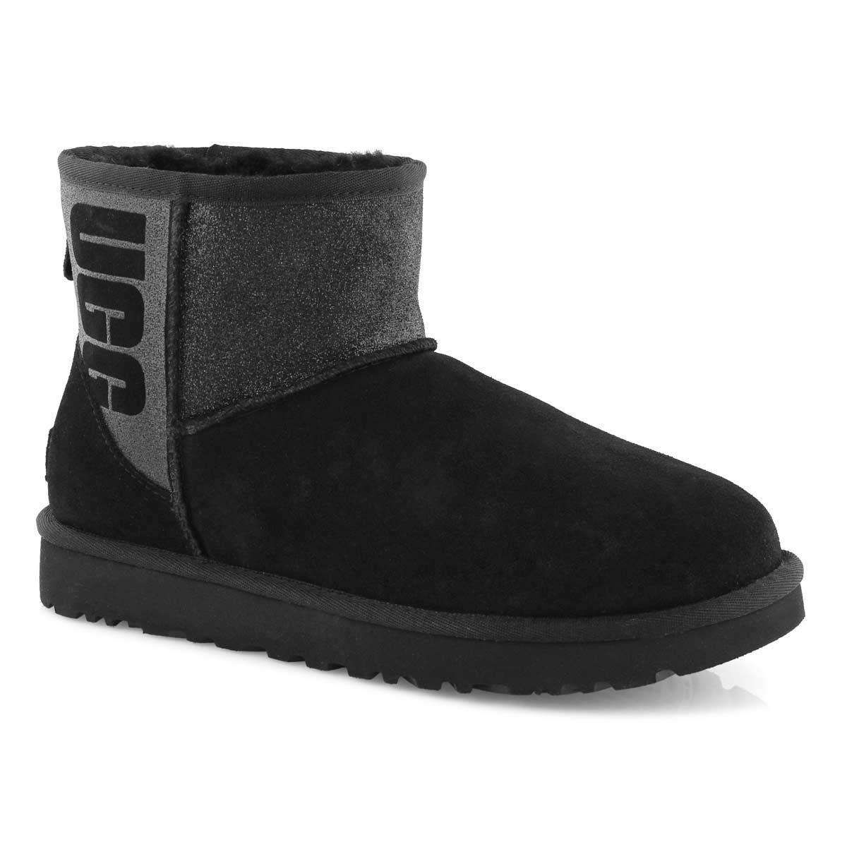 Women's CLASSIC MINI UGG SPARKLE blk boots