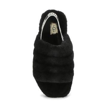 Girls' FLUFF YEAH black sheepskin slippers