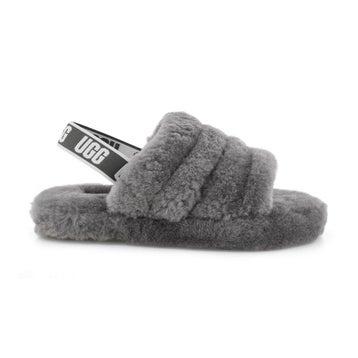 Girls' FLUFF YEAH charcoal sheepskin slippers