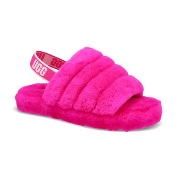 Girls' Fluff Yeah Sheepskin Slipper- Rose